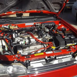 1989 Red Acura in the staging area at 2020 Mecum in Kissimmee. Have you ever seen a cleaner engine bay on a car with 48,000 miles?
