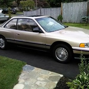 "1989 Gold Acura Legend purchased on eBay.  101K miles, auto, ""L"""